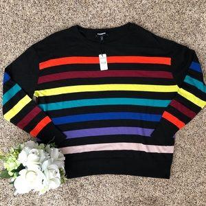 NWT - Express Crew Neck Sweater w/ Rainbow Stripes